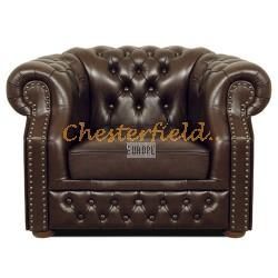 Windsor XL antikbrun (A5) Chesterfield fåtölj helt i äkta skinn