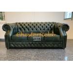 Windsor Chesterfield 3 sits soffa (A8) grön i färg helt i äkta skinn